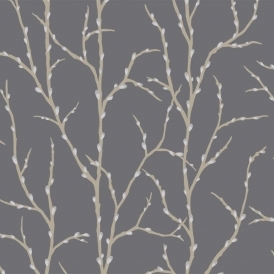 Allure Pussy Willow Tree Wallpaper Charcoal, Silver (309799)