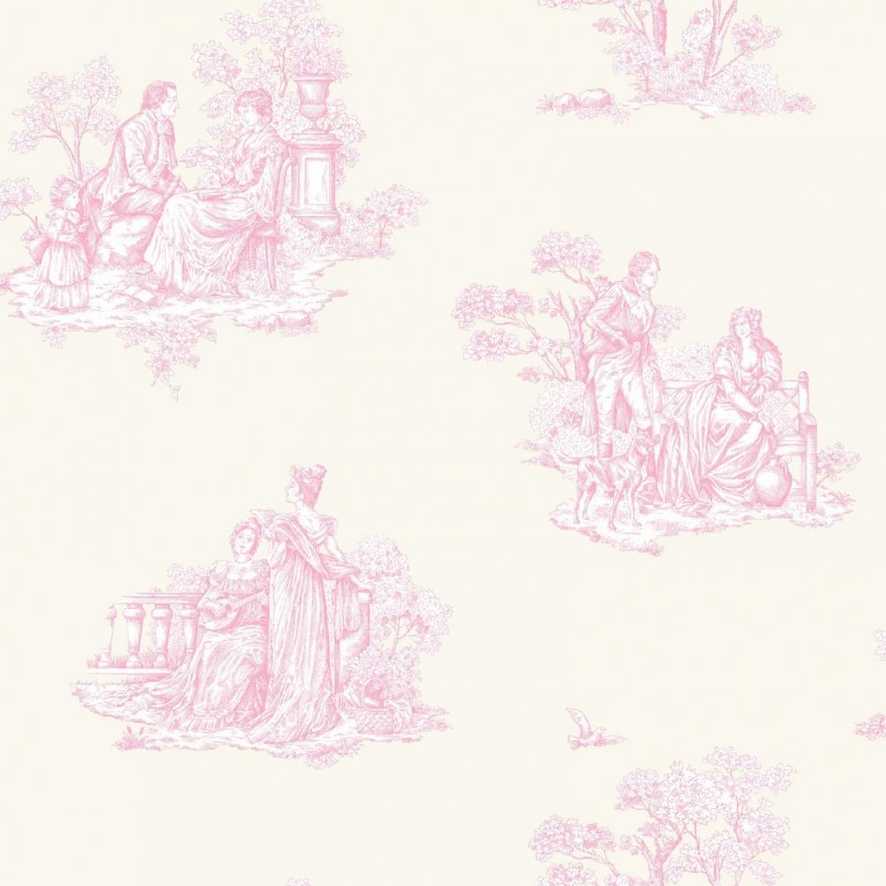 Rasch Amore Toile De Jouy Wallpaper Cream Pink 204216 Wallpaper From I Love Wallpaper Uk