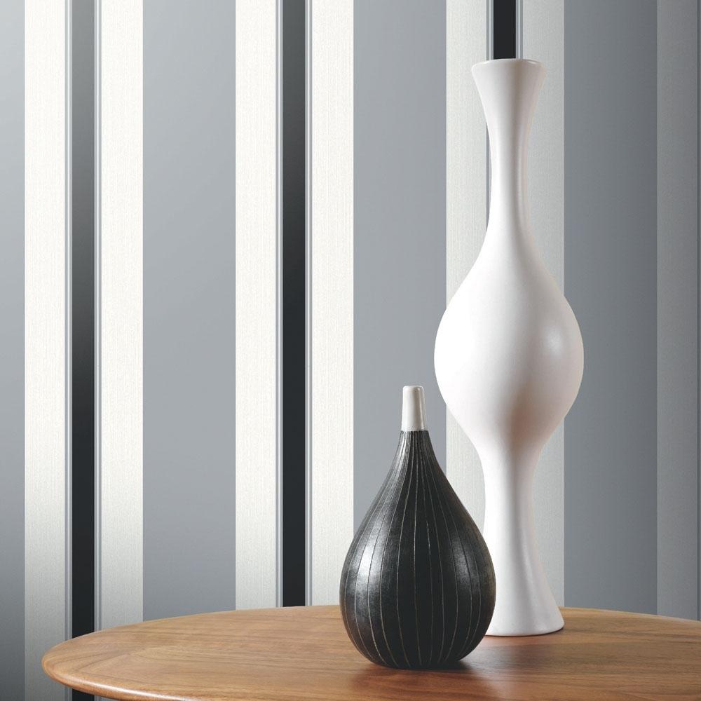 Arthouse Anya Stripe Texture Blown Vinyl Wallpaper Black Silver