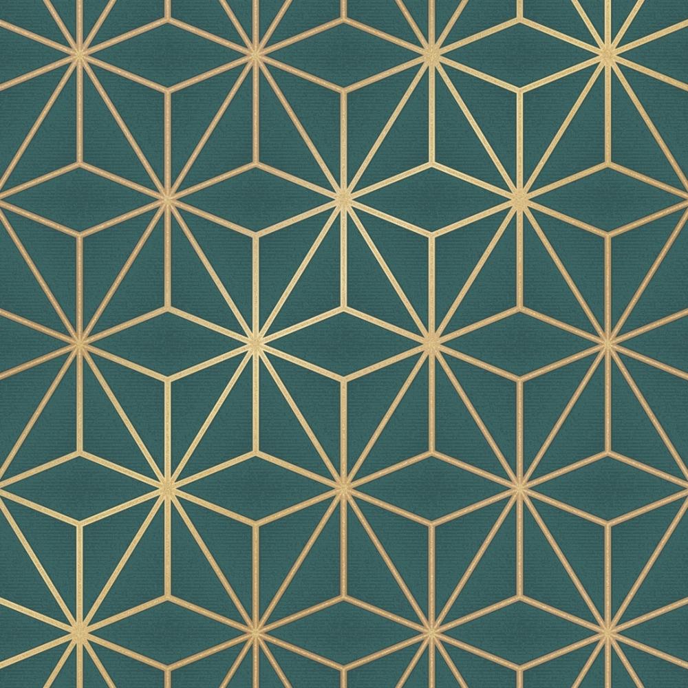 Astral Metallic Wallpaper Emerald Green Gold