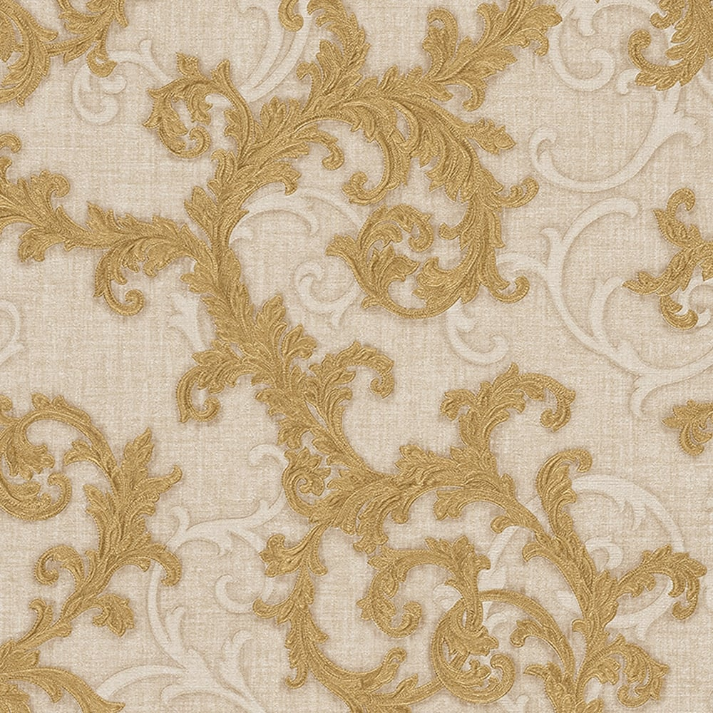 Versace Baroque & Roll Ornamental Wallpaper Cream, Gold (96231-3) - Wallpaper from I Love Wallpaper UK