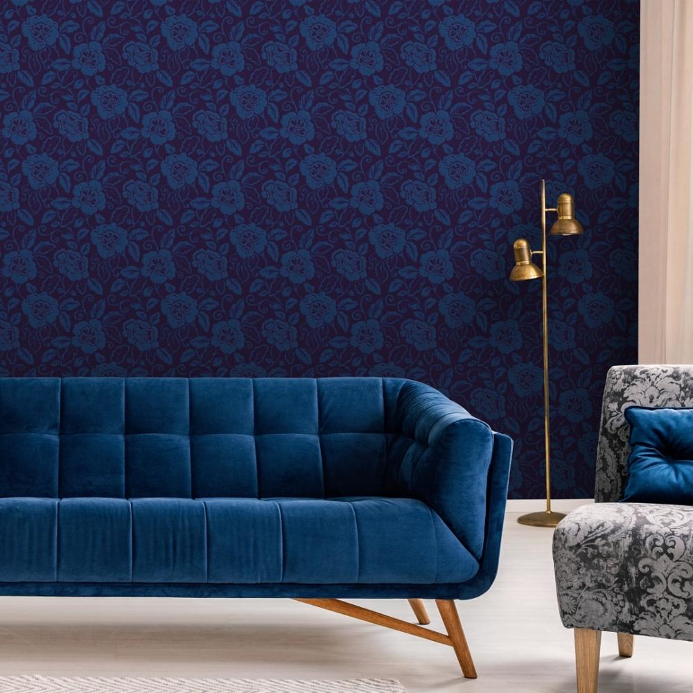 Sophie Conran Belle Floral Flock Wallpaper Royal Blue 980508