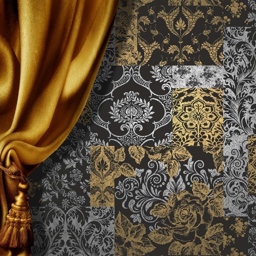 Vymura Brocade Patchwork Wallpaper Silver Gold Black