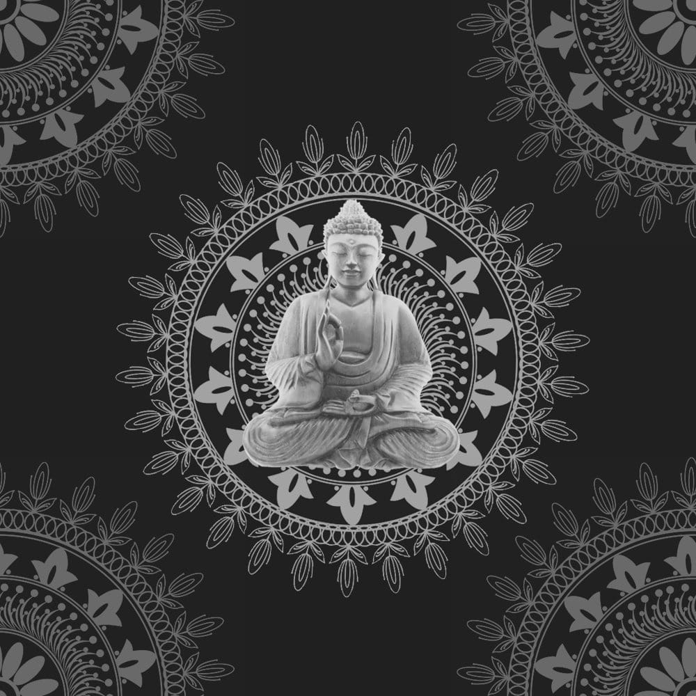 BonBon Buddha Wallpaper Black Silver - 9704 - Wallpaper from I Love Wallpaper UK