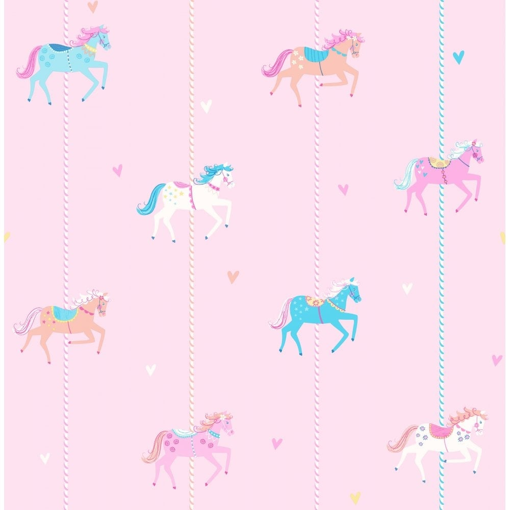 Decorline Carousel Childrens Wallpaper Pink Blue White DL21119