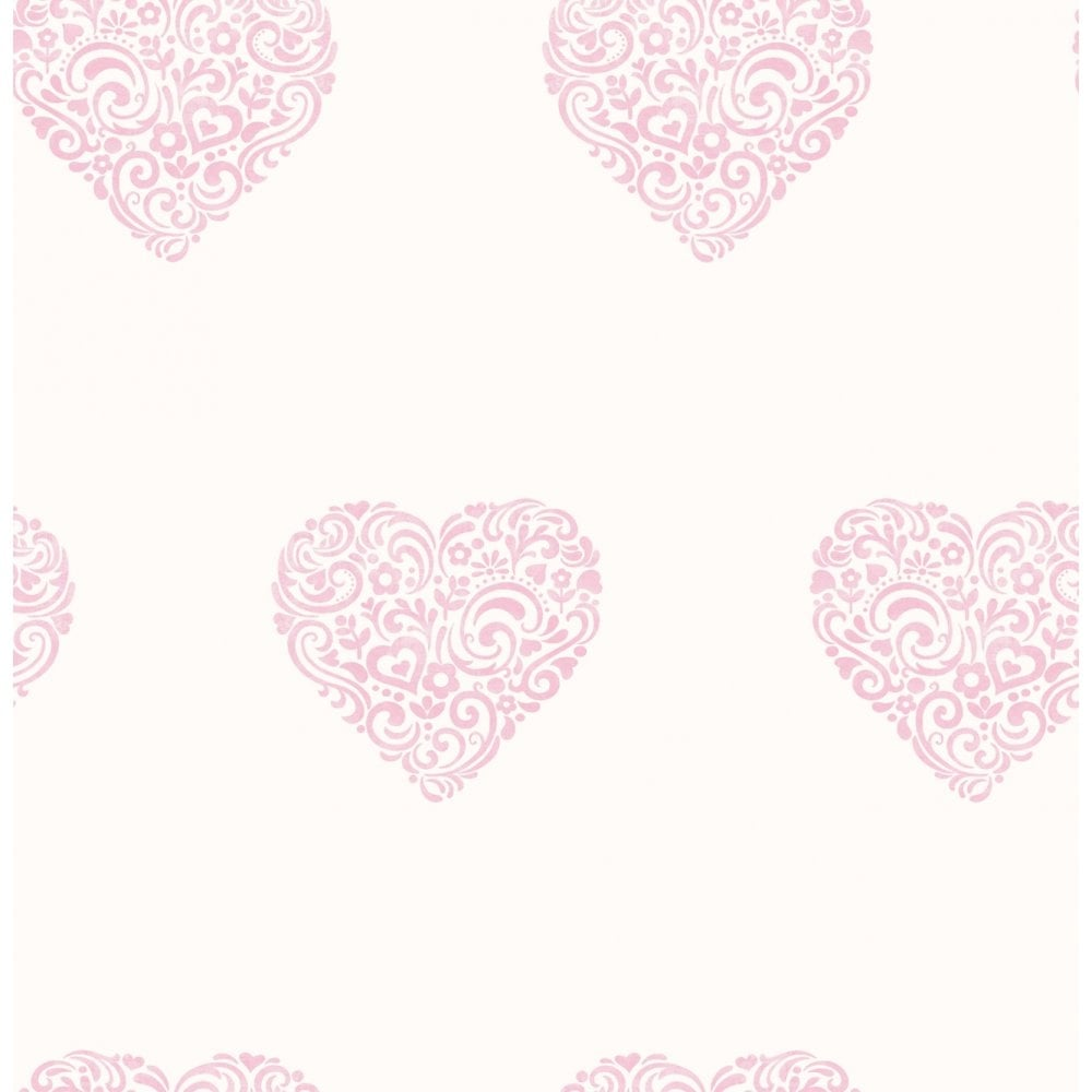 Carousel Pearlescent Hearts Wallpaper Pink White Dl21115