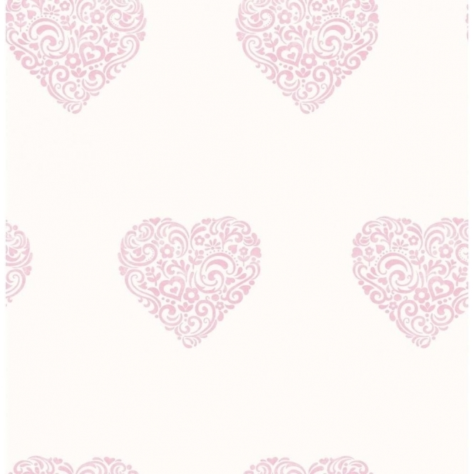 Decorline Carousel Pearlescent Hearts Wallpaper Pink, White (DL21115)