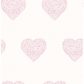 Carousel Pearlescent Hearts Wallpaper Pink, White (DL21115)