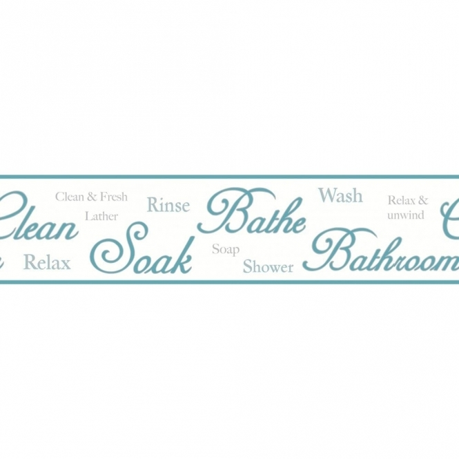 Fine Decor Ceramica Bathroom Script Self Adhesive Border Teal / White (FDB50032)