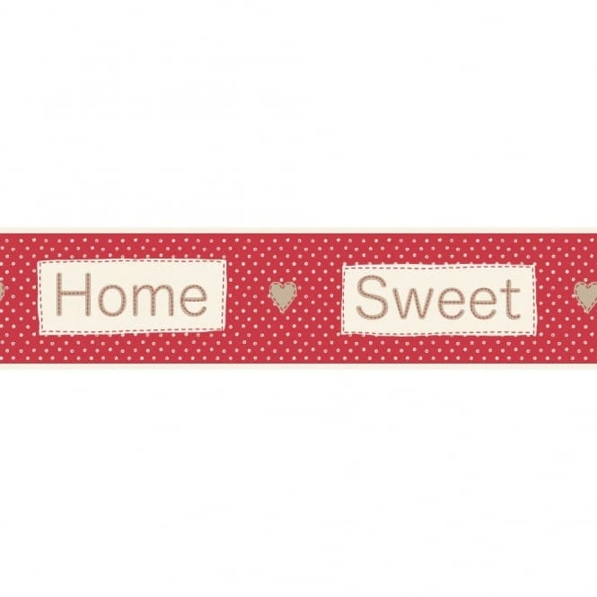 Fine Decor Ceramica Home Sweet Home Self Adhesive Border Red