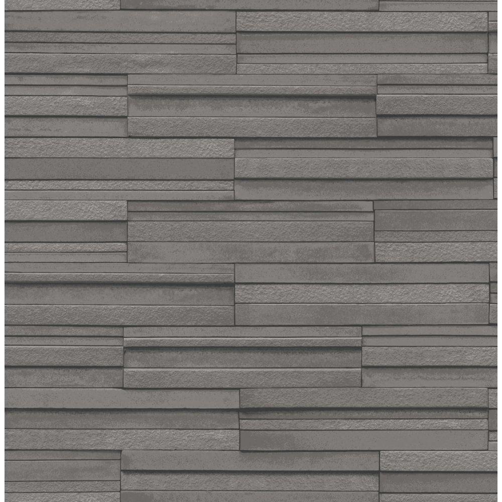 Tile Wallpaper Part - 15: Fine Decor Ceramica Slate Tile Washable Wallpaper Charcoal (FD40126) -  Wallpaper From I Love Wallpaper UK