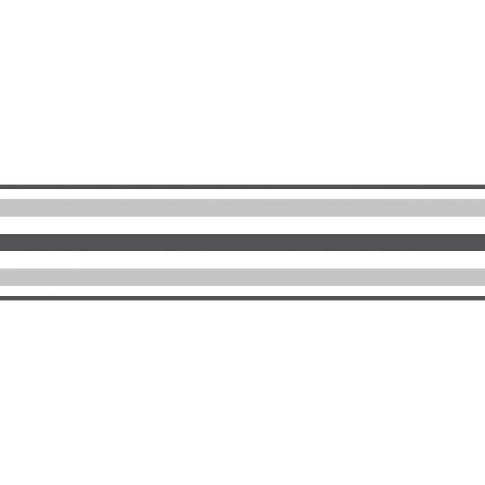 Fine Decor Ceramica Stripe Self Adhesive Border Black Silver White Fdb50025