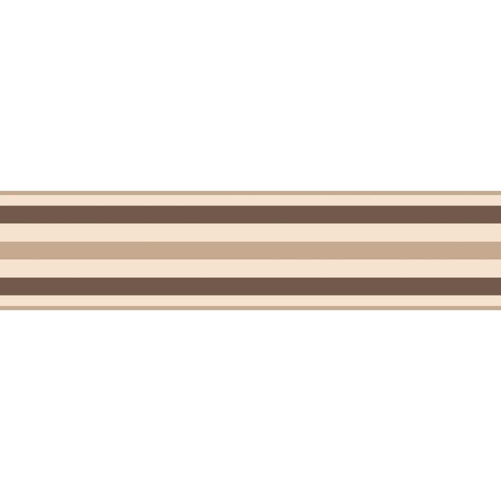 Fine Decor Ceramica Stripe Self Adhesive Border Natural Chocolate Brown Cream Fdb50023