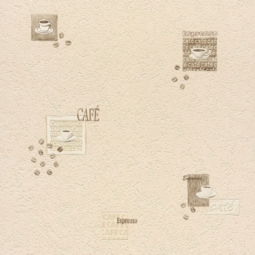 Coffee Time Tile Wallpaper Cream, Beige, Brown (878615)