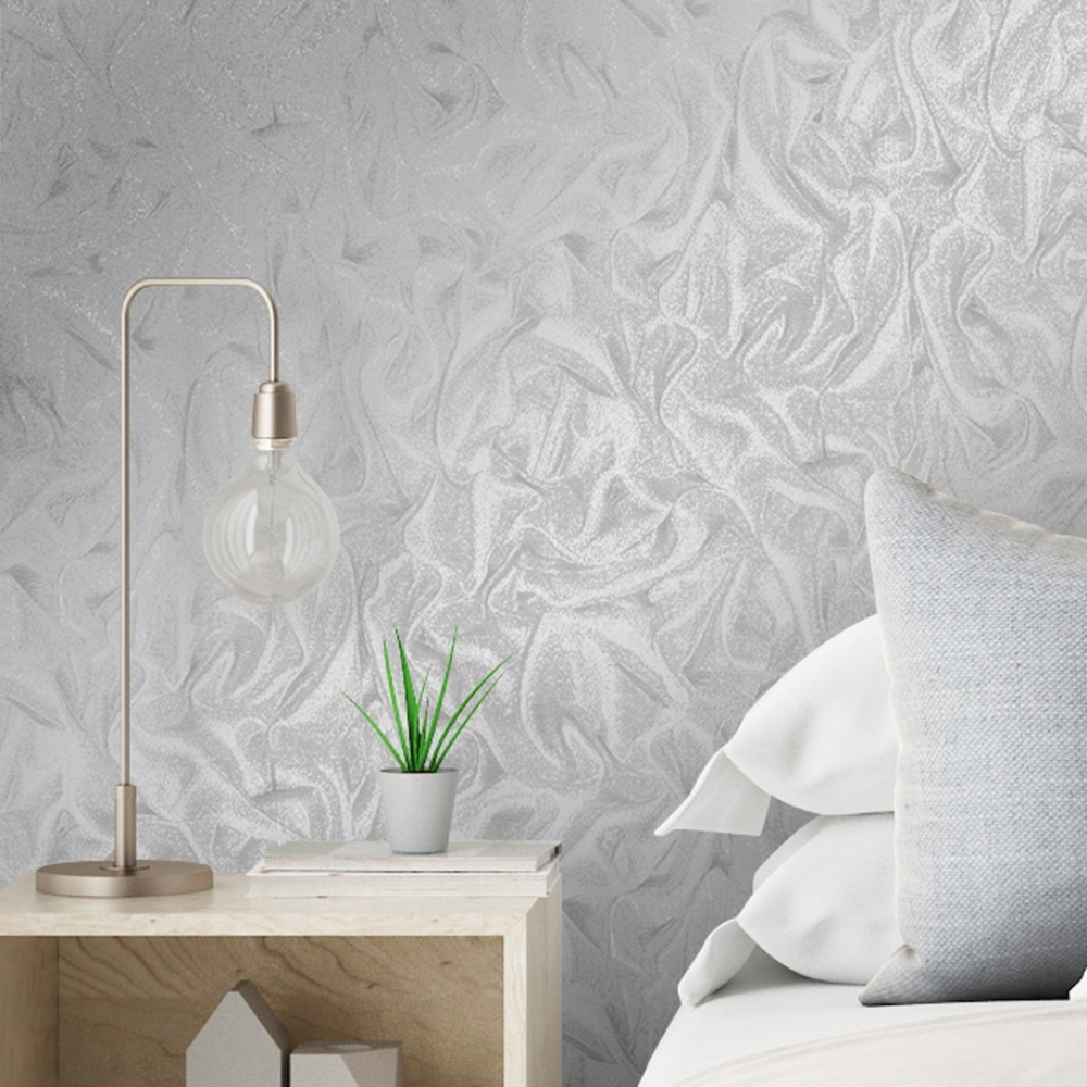 Henderson Interiors Crushed Satin Glitter Wallpaper Grey Wallpaper From I Love Wallpaper Uk