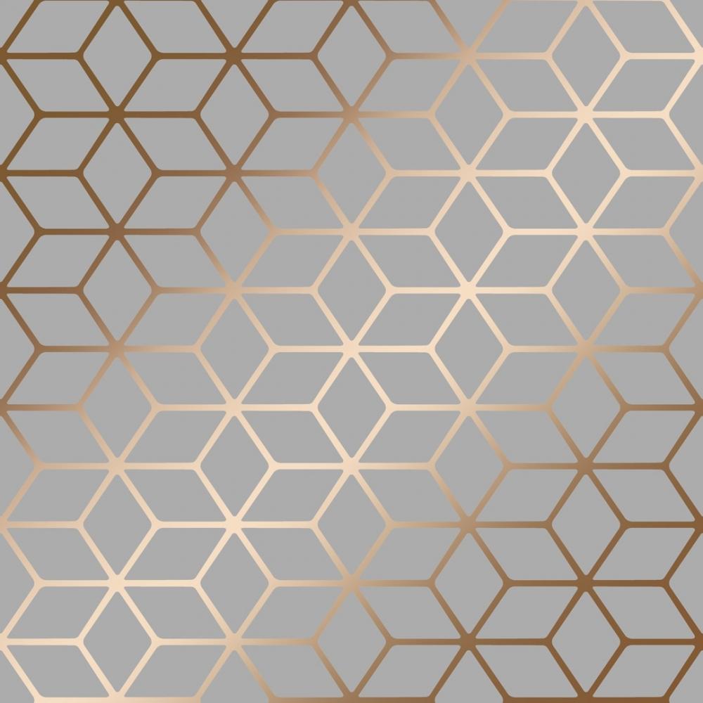 Cubic Shimmer Metallic Wallpaper Grey Copper
