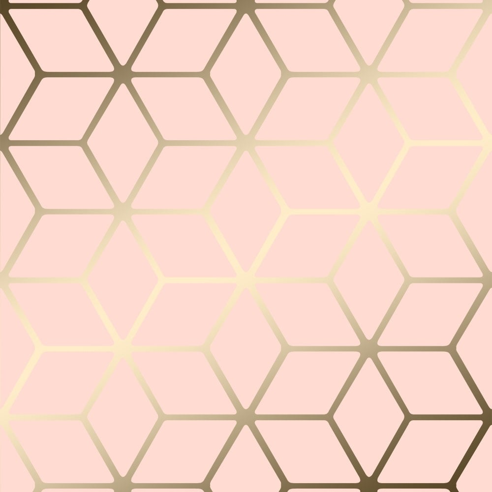 house of alice cubic shimmer metallic wallpaper soft pink gold