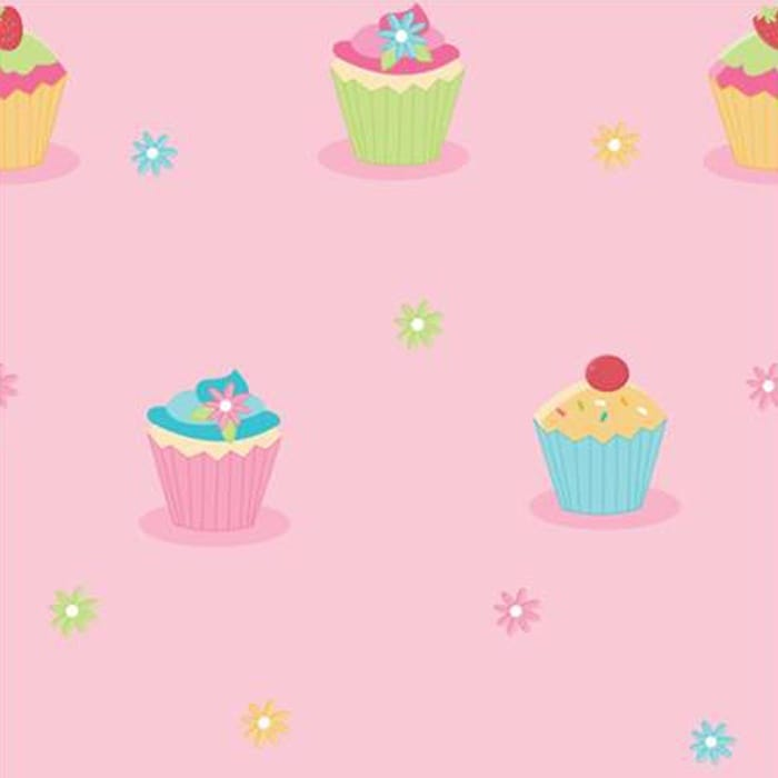 Home wallpaper fun4walls cute cupcake pink childrens kids wallpaper