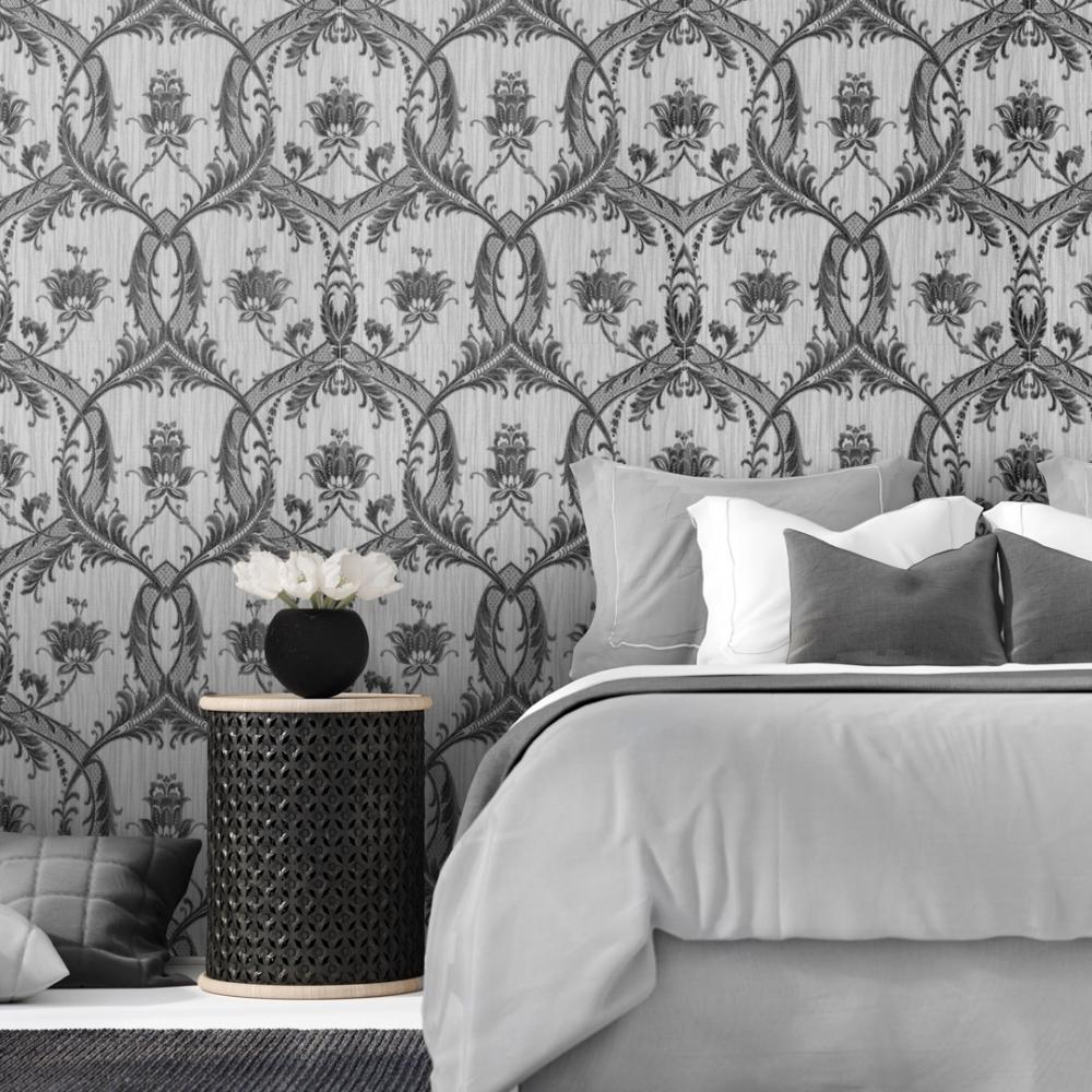 Milano Damask Glitter Wallpaper Silver Black M95565 Wallpaper