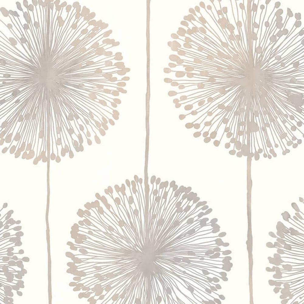 Dandelion Floral Wallpaper Cream Grey Gold J04207
