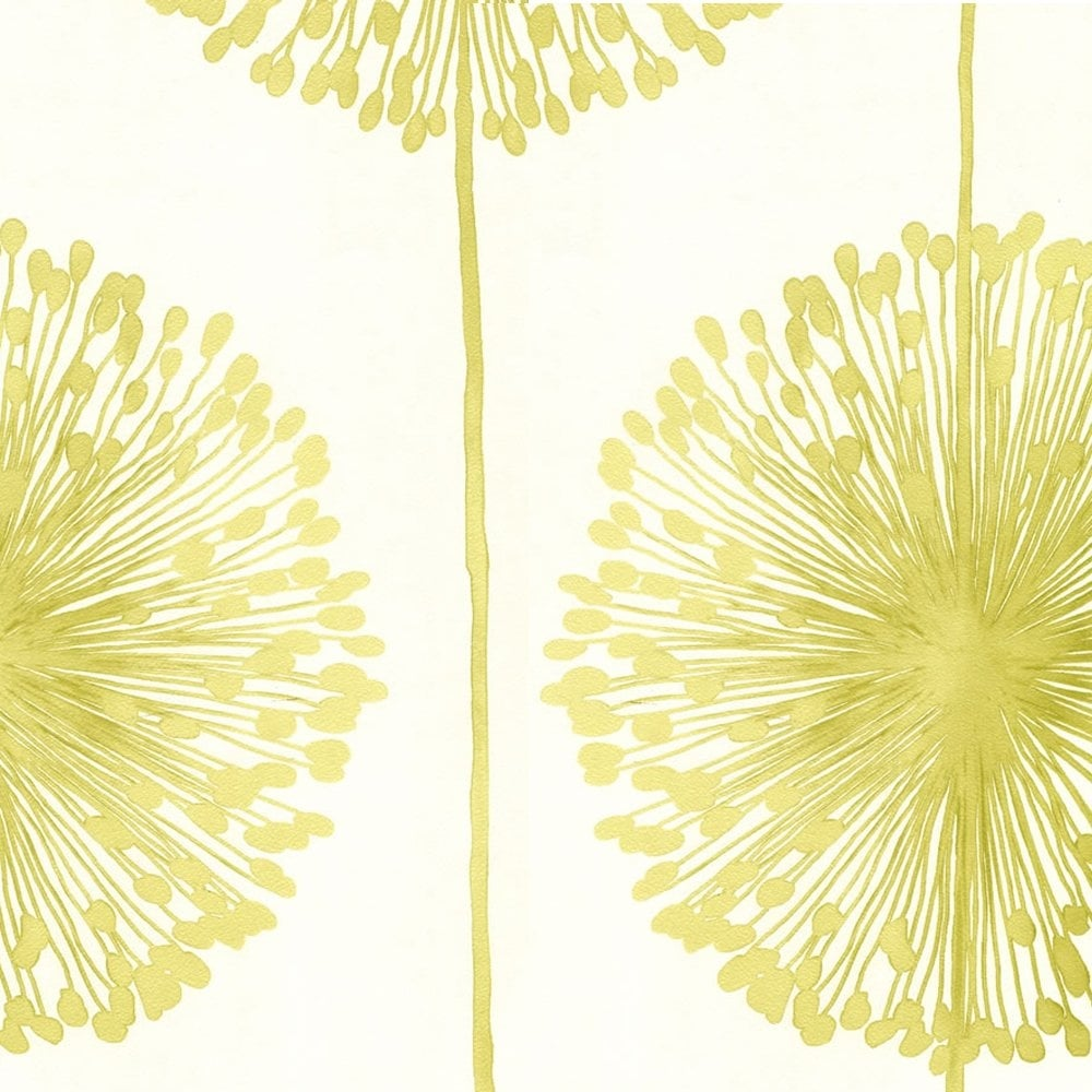 Muriva Dandelion Floral Wallpaper Cream Lime Green J04204