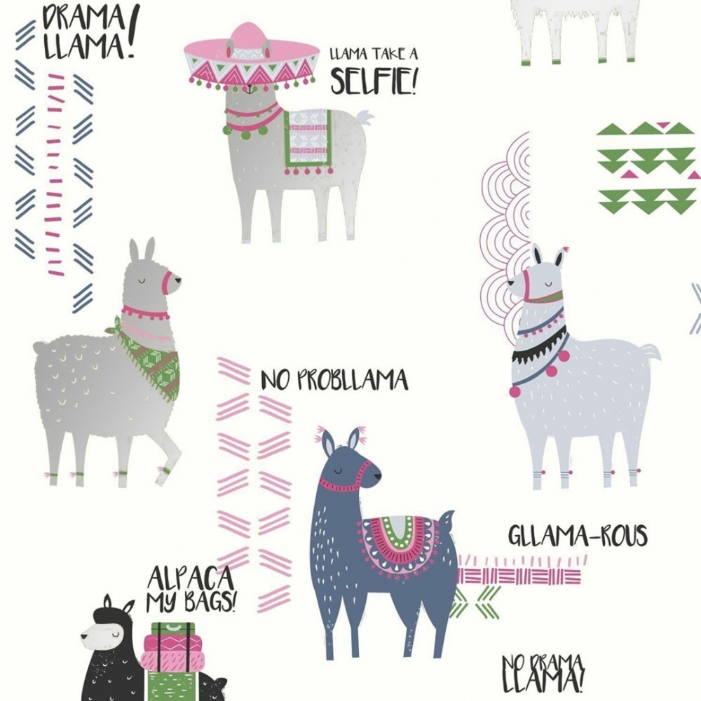 Pink Crown M1369 Drama Llamas Childrens Wallpaper Blue