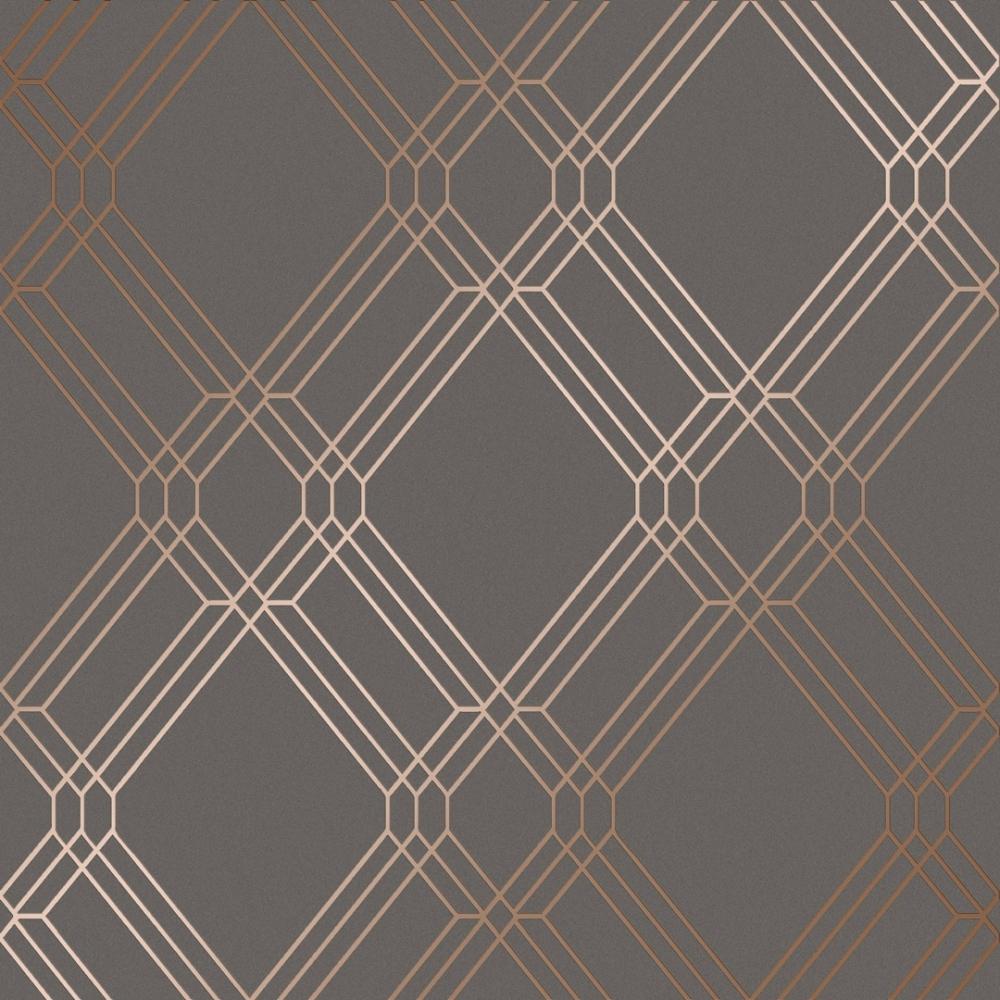 Filigree Geometric Wallpaper Charcoal Rose