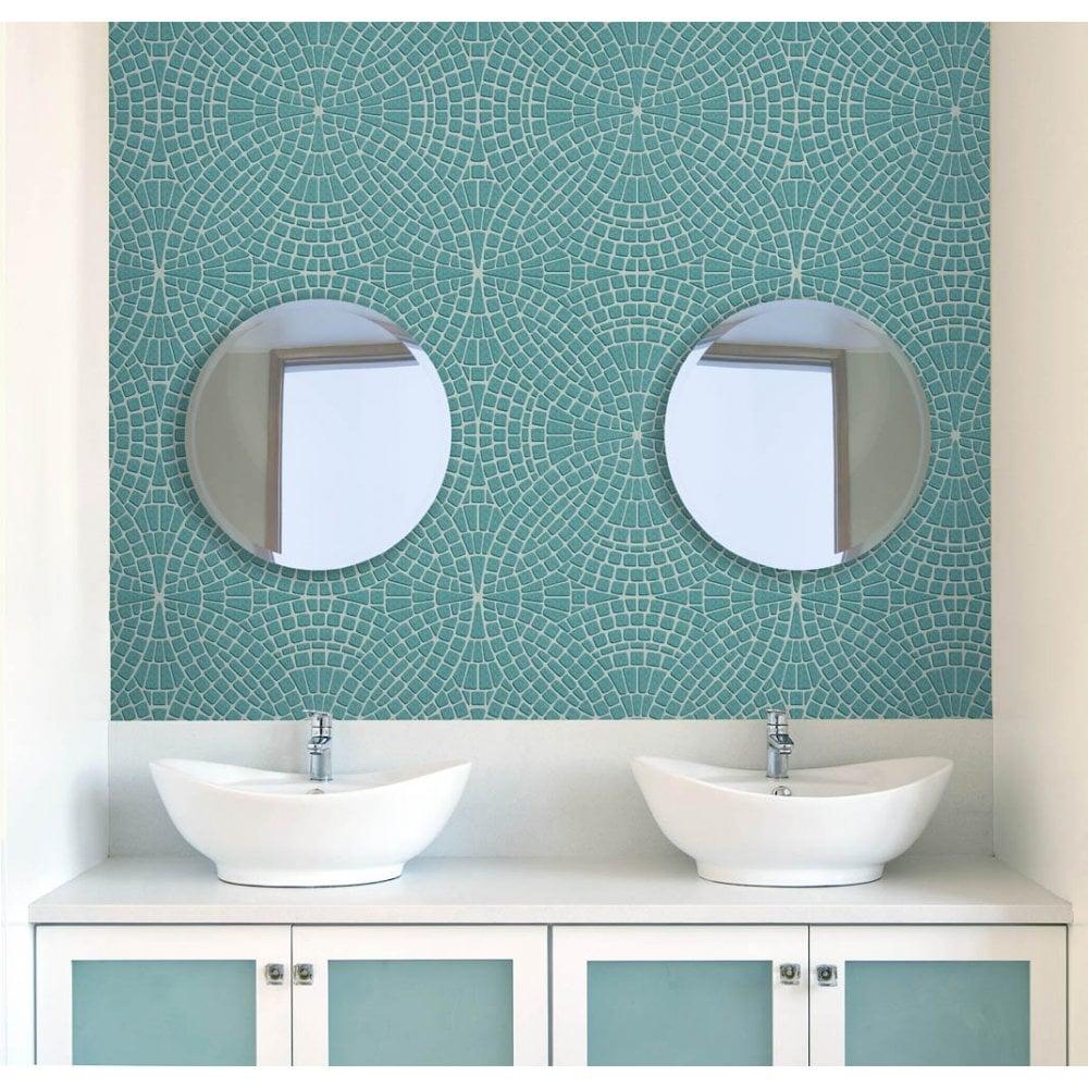 Fine Decor Ceramica Mosaic Tile Effect Wallpaper Teal Silver Fd40128 Wallpaper From I Love Wallpaper Uk
