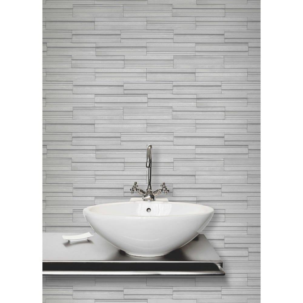 Slate effect bathroom wallpaper for Grey bathroom wallpaper