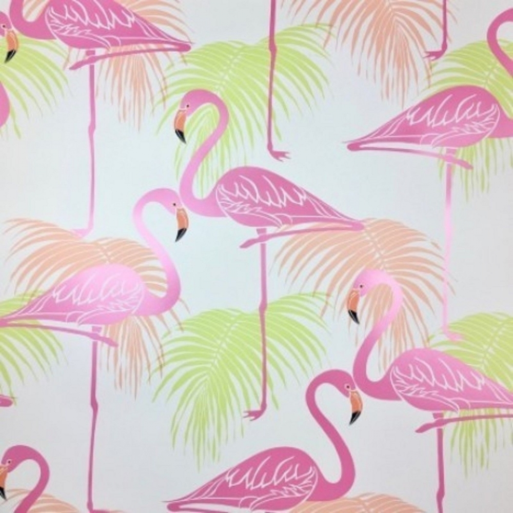 Flamingo Kids Wallpaper Pink Green FD42213