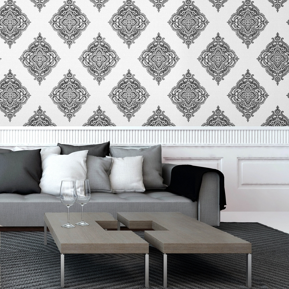 100 black damask wallpaper home decor best 25 wallpaper feature walls ideas on pinterest Pinterest home decor black and white