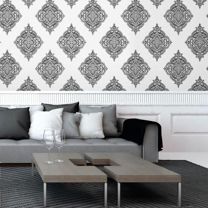 Fine Decor Glamour Medallion Damask Wallpaper White Silver Black Fd40607 Wallpaper From I Love Wallpaper Uk