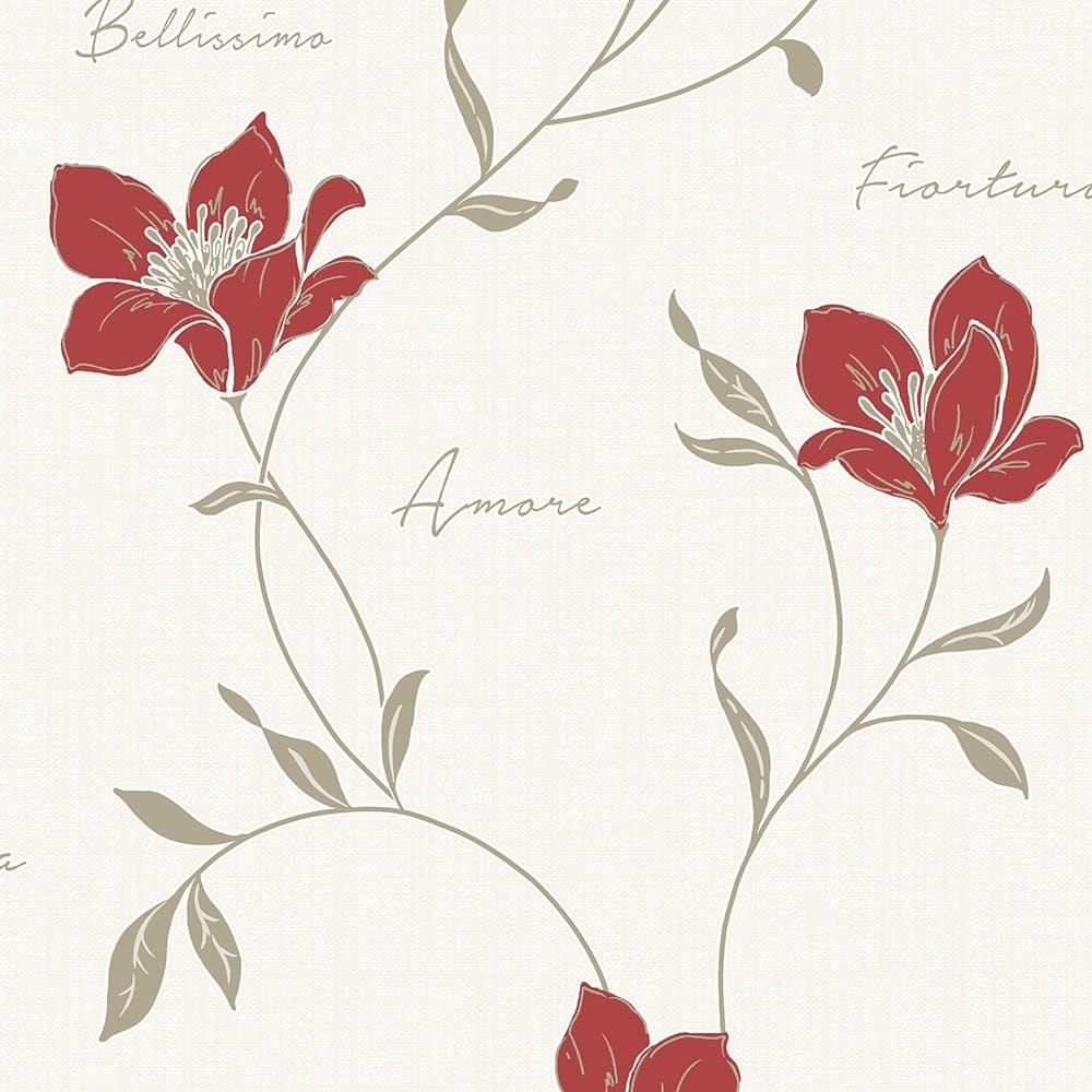 Fine Decor Mischa Floral Wallpaper Red Gold Fd40721