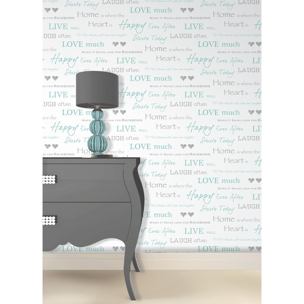 Fine Decor **SAMPLE** Wall Words Live Love Laugh White Grey Teal ...