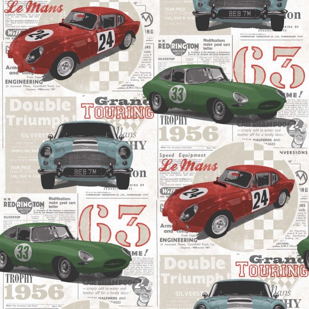 Fine Decor Vintage Race Cars Kids Bedroom Wallpaper Red Green