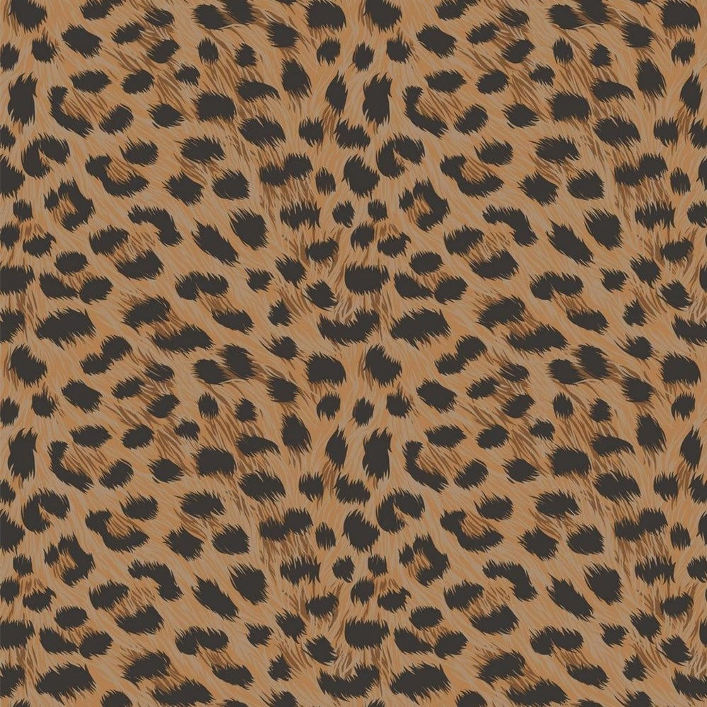 Fine Decor Furs Leopard Animal Print Wallpaper Natural Orange Black Fd30681