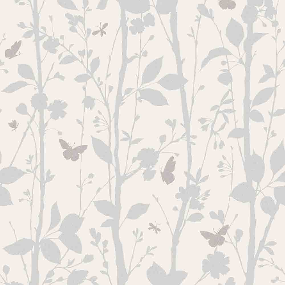 Fine Decor Geo Butterflies Glitter Wallpaper White Silver