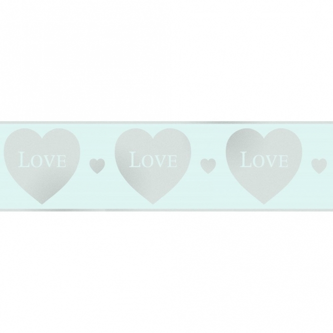 Fine Decor Glitz Hearts Glitter Wallpaper Border Teal / Silver (DLB50148)