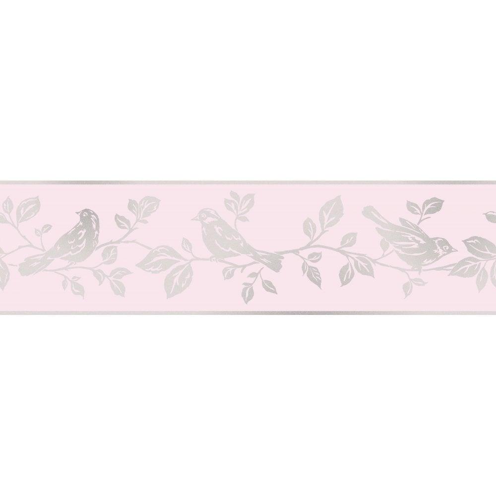 Fine Decor Glitz Leaf Bird Glitter Wallpaper Border Pink