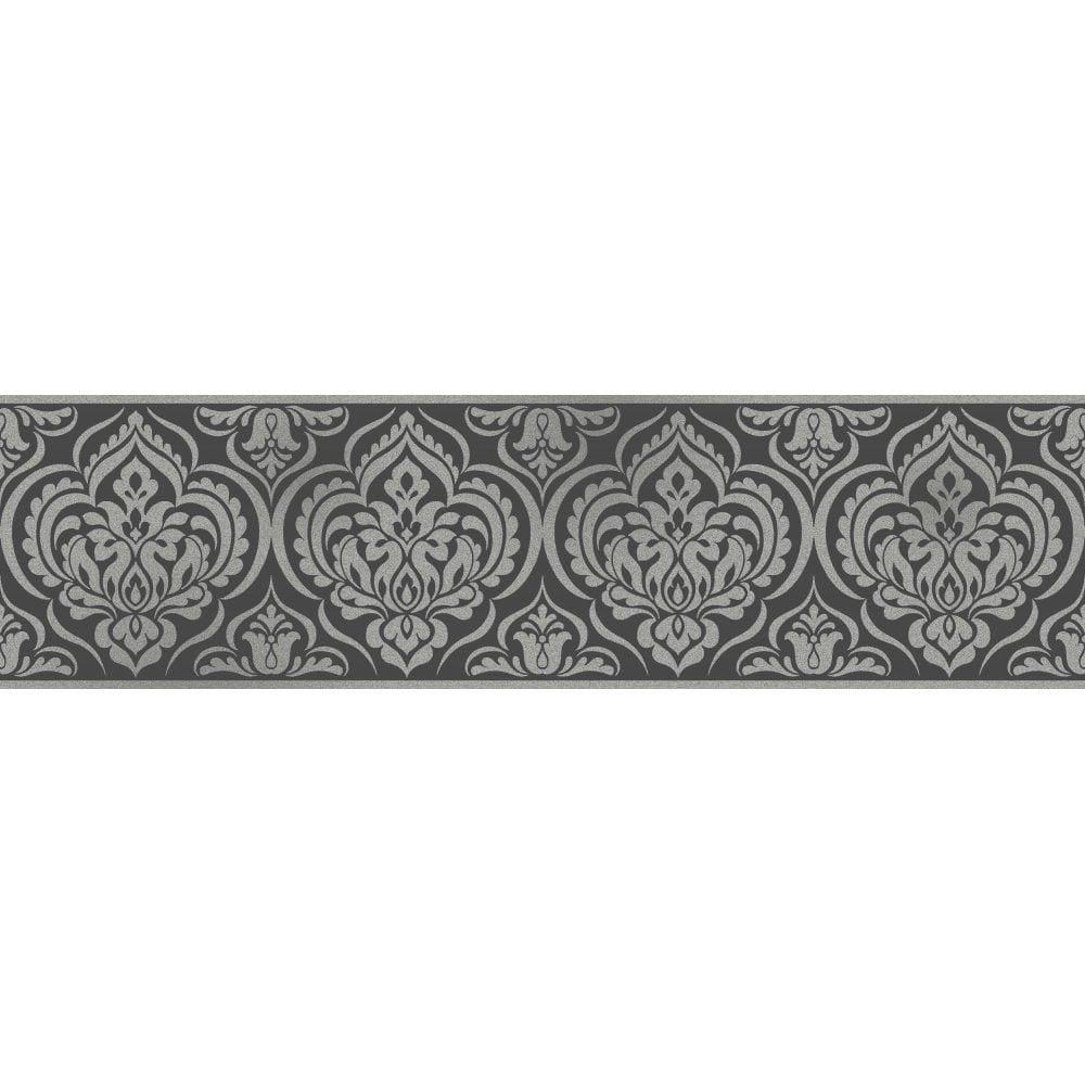Fine Decor Glitz Ornamental Damask Glitter Wallpaper Border Black