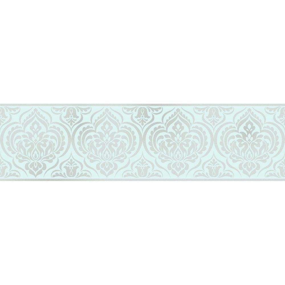 Glitz Ornamental Damask Glitter Wallpaper Border Teal Silver DLB50147