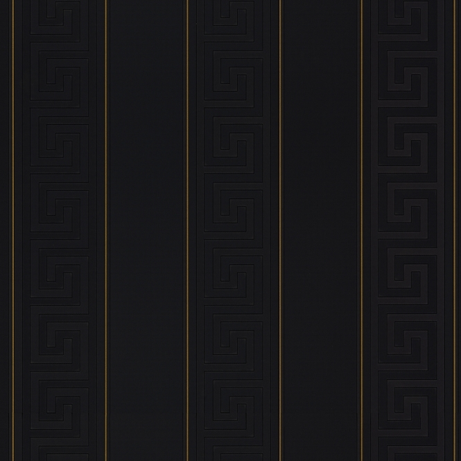 Versace Greek Stripe Wallpaper, Black, Gold (93524-4)