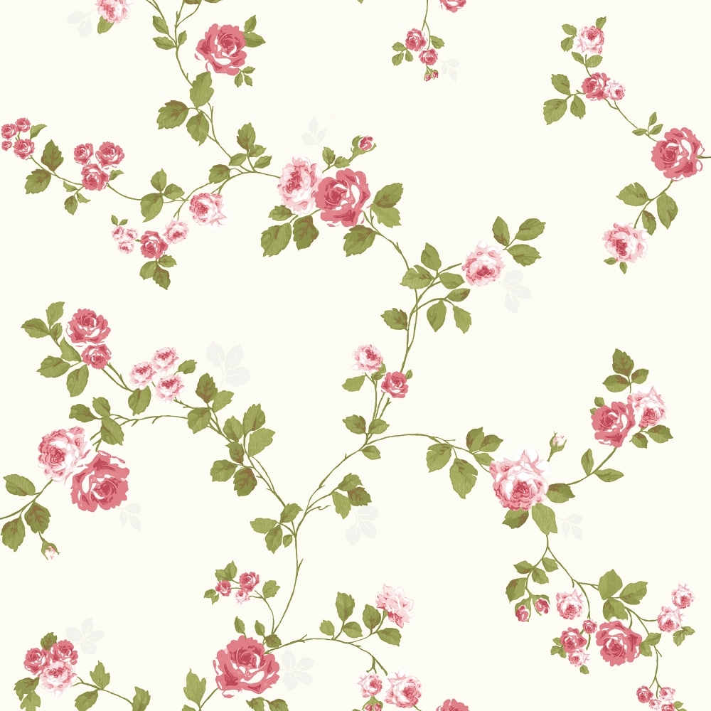Heritage Mid Floral Wallpaper Red Cream FD40169