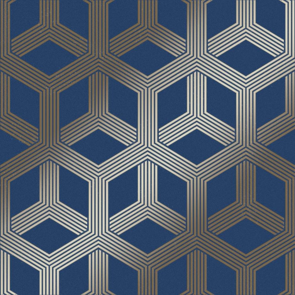 I Love Wallpaper Hexa Geometric Wallpaper Blue, Gold ...