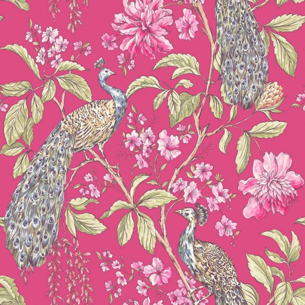 Sophie Conran Hibiscus Peacock Wallpaper Raspberry 664302