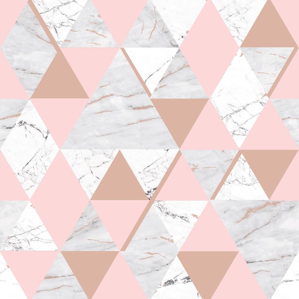 Onyx Marble Metallic Wallpaper Soft Pink Rose Gold H980567