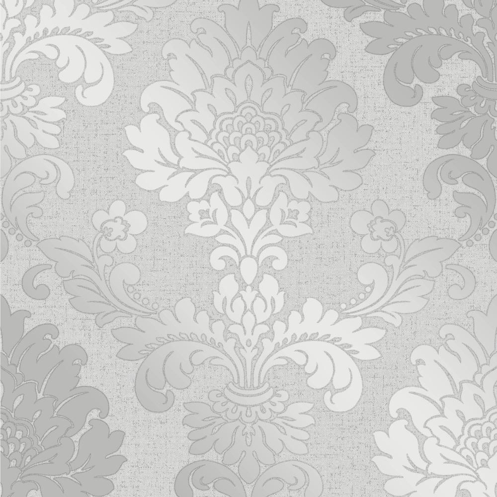 Glisten Damask Wallpaper Silver ILW980084