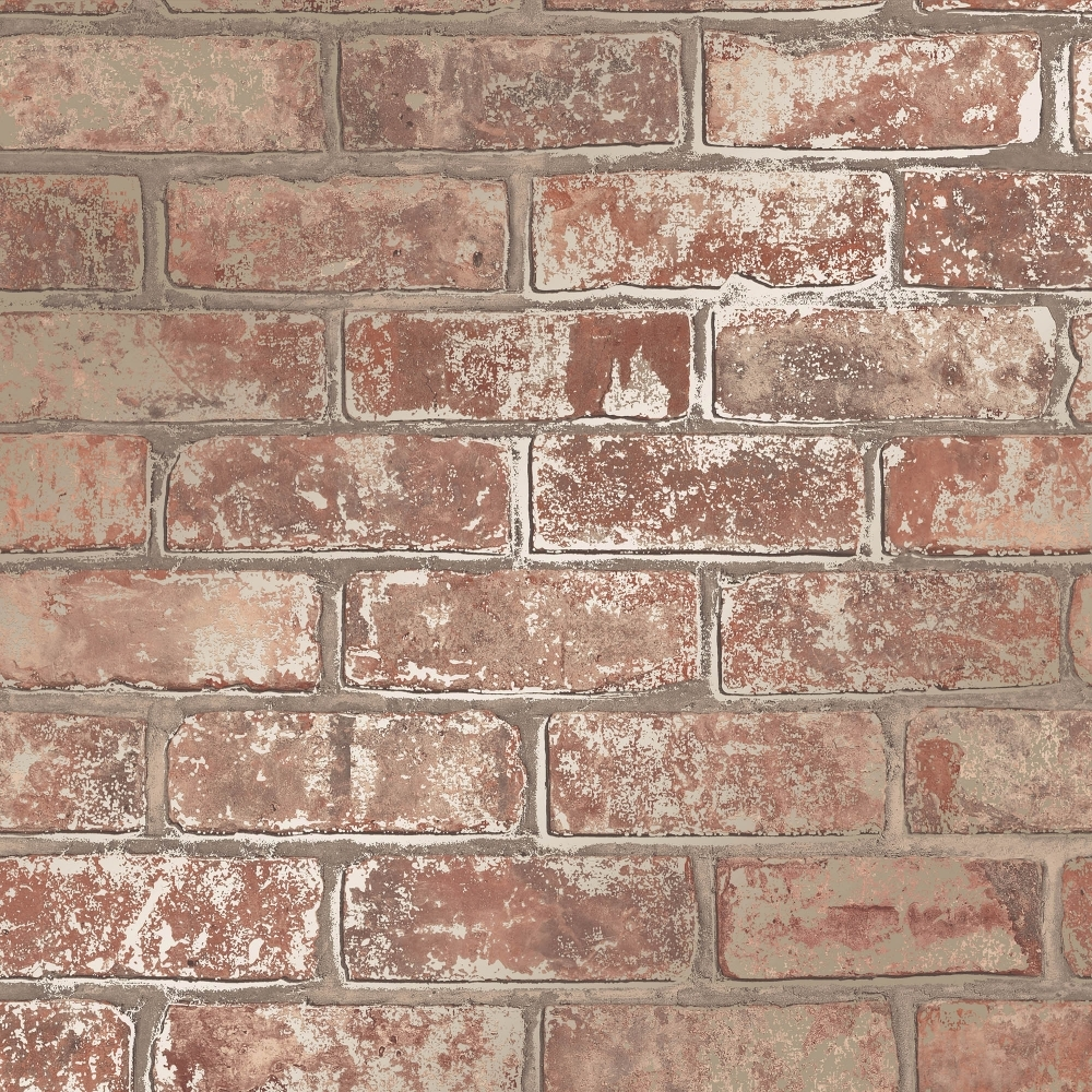 I Love Wallpaper Brick Effect : I Love Wallpaper Metallic Brick Wallpaper Natural (ILW980076) - Wallpaper from I Love Wallpaper UK