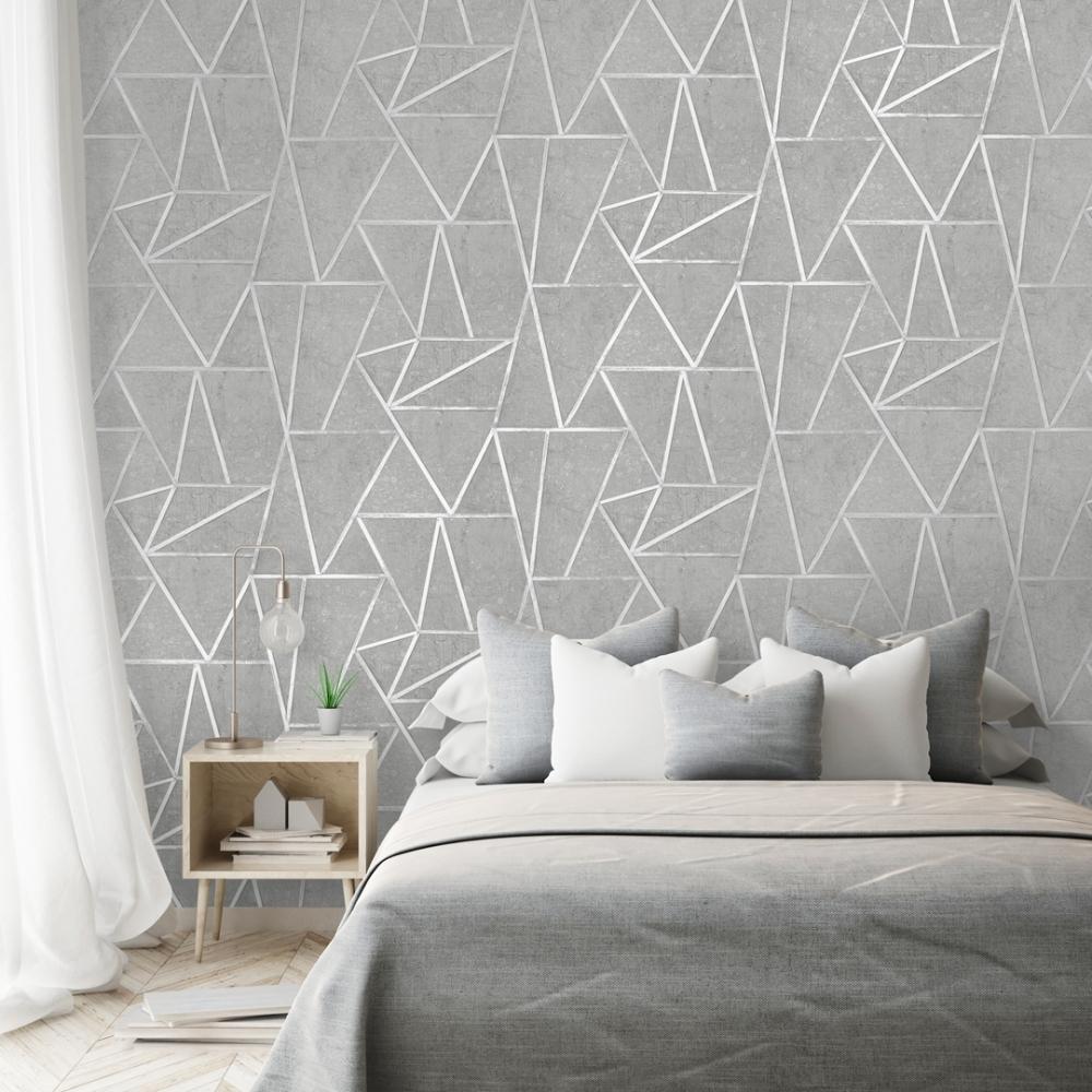 I Love Wallpaper Metro Geometric Apex Wallpaper Grey Silver