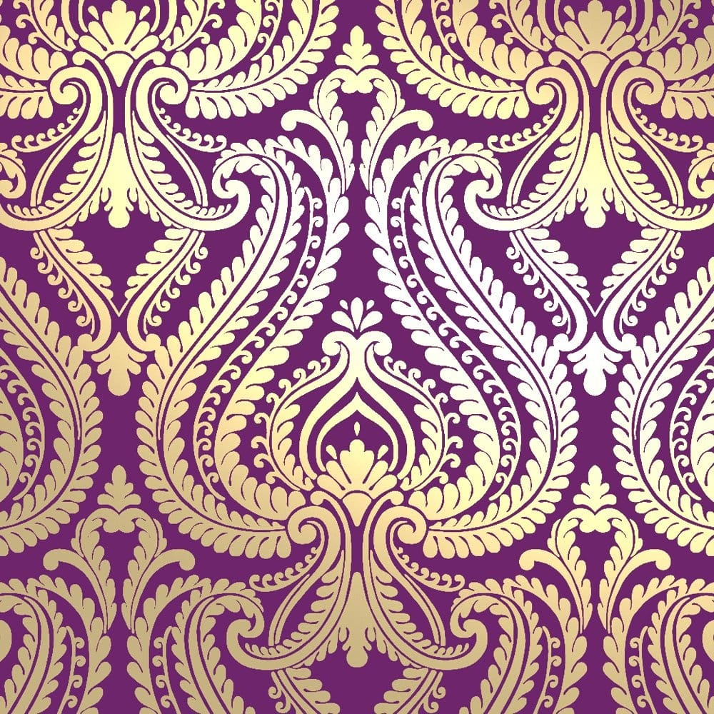 I Love Wallpaper Shimmer Damask Metallic Wallpaper Purple